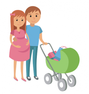 Vector Image of an Expecting Dad & Mom pushing a stroller